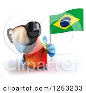 Clipart Of A 3d Macaw Parrot Wearing Sunglasses And Holding A Brazilian Flag Royalty Free Illustration
