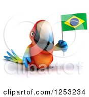 Clipart Of A 3d Macaw Parrot Holding A Brazilian Flag Royalty Free Illustration