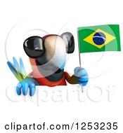 Clipart Of A 3d Macaw Parrot Wearing Sunglasses And Holding A Brazilian Flag Over A Sign Royalty Free Illustration