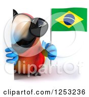 Clipart Of A 3d Macaw Parrot Wearing Sunglasses And Holding A Brazilian Flag Around A Sign Royalty Free Illustration