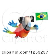 Clipart Of A 3d Macaw Parrot Wearing Sunglasses And Flying With A Brazilian Flag Royalty Free Illustration