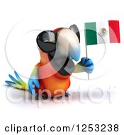 Clipart Of A 3d Macaw Parrot Wearing Sunglasses And Holding A Mexican Flag Royalty Free Illustration