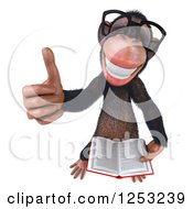 Clipart Of A 3d Bespectacled Chimpanzee Holding A Thumb Up And Reading A Book Royalty Free Illustration