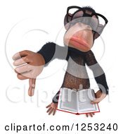 Clipart Of A 3d Bespectacled Chimpanzee Holding A Thumb Down And Reading A Book Royalty Free Illustration