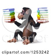 Clipart Of A 3d Chimpanzee Balancing Stacks Of Books 2 Royalty Free Illustration