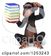 Clipart Of A 3d Chimpanzee Sitting And Thinking While Holding A Stack Of Books Royalty Free Illustration
