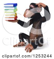 Clipart Of A 3d Chimpanzee Sitting And Thinking While Holding A Stack Of Books 2 Royalty Free Illustration