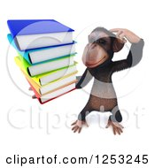 Clipart Of A 3d Chimpanzee Thinking While Holding A Stack Of Books Royalty Free Illustration