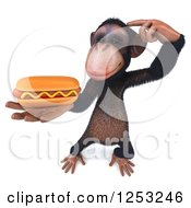 Clipart Of A 3d Thinking Chimpanzee Holding A Hot Dog Royalty Free Illustration