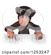 Clipart Of A 3d Bespectacled Chimpanzee Pointing Down Over A Sign Royalty Free Illustration