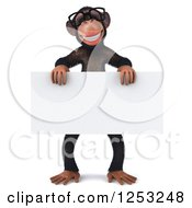 Clipart Of A 3d Bespectacled Chimpanzee Holding A Blank Sign Royalty Free Illustration