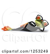 Clipart Of A 3d Bespectacled Green Business Springer Frog Resting Royalty Free Illustration
