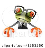 Clipart Of A 3d Bespectacled Green Business Springer Frog Over A Sign Royalty Free Illustration