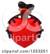 Clipart Of A 3d Red Frog Wearing Sunglasses And Hugging A Heart Royalty Free Illustration