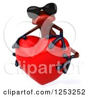 Clipart Of A 3d Red Frog Wearing Sunglasses And Hugging A Heart 2 Royalty Free Illustration