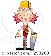Clipart Of A Happy Woman Christmas Elf Builder With Tools Royalty Free Vector Illustration