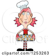 Clipart Of A Happy Woman Christmas Elf Baking Cookies Royalty Free Vector Illustration