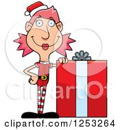 Clipart Of A Happy Woman Christmas Elf With A Big Gift Royalty Free Vector Illustration