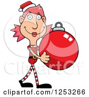 Clipart Of A Happy Woman Christmas Elf Carying A Bauble Ornament Royalty Free Vector Illustration by Cory Thoman