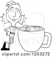 Clipart Of A Black And White Happy Woman Christmas Elf With A Giant Cup Of Hot Chocolate Royalty Free Vector Illustration