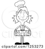 Clipart Of A Black And White Happy Woman Christmas Elf Baking Cookies Royalty Free Vector Illustration