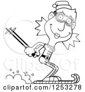 Clipart Of A Black And White Happy Woman Christmas Elf Skiing Royalty Free Vector Illustration by Cory Thoman