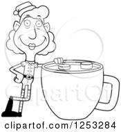 Clipart Of A Black And White Happy Grandma Christmas Elf With A Giant Cup Of Hot Chocolate Royalty Free Vector Illustration by Cory Thoman