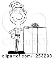 Clipart Of A Black And White Happy Man Christmas Elf With A Big Gift Royalty Free Vector Illustration by Cory Thoman