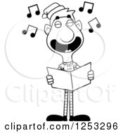 Clipart Of A Black And White Happy Man Christmas Elf Singing Carols Royalty Free Vector Illustration