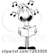 Clipart Of A Black And White Happy Grandpa Christmas Elf Singing Carols Royalty Free Vector Illustration
