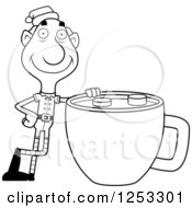 Clipart Of A Black And White Happy Grandpa Christmas Elf With A Giant Hot Chocolate Royalty Free Vector Illustration by Cory Thoman