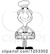 Clipart Of A Black And White Happy Grandpa Christmas Elf Baking Cookies Royalty Free Vector Illustration by Cory Thoman