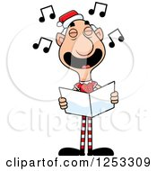 Clipart Of A Happy Grandpa Christmas Elf Singing Carols Royalty Free Vector Illustration