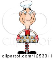 Clipart Of A Happy Grandpa Christmas Elf Baking Cookies Royalty Free Vector Illustration by Cory Thoman