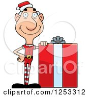 Clipart Of A Happy Grandpa Christmas Elf With A Big Gift Royalty Free Vector Illustration