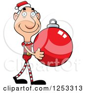 Clipart Of A Happy Grandpa Christmas Elf Carrying A Bauble Ornament Royalty Free Vector Illustration by Cory Thoman