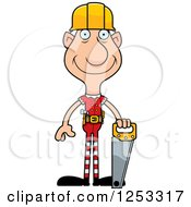 Clipart Of A Happy Grandpa Christmas Elf Builder Royalty Free Vector Illustration