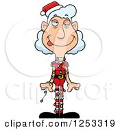 Clipart Of A Grandma Christmas Elf Tangled In Lights Royalty Free Vector Illustration by Cory Thoman