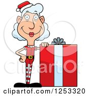 Clipart Of A Happy Grandma Christmas Elf With A Big Gift Royalty Free Vector Illustration by Cory Thoman