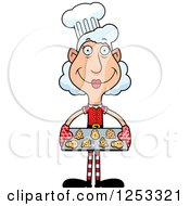 Clipart Of A Happy Grandma Christmas Elf Baking Cookies Royalty Free Vector Illustration