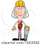 Clipart Of A Happy Grandma Christmas Elf Builder With Tools Royalty Free Vector Illustration by Cory Thoman