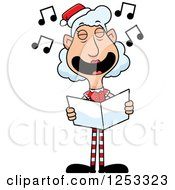 Clipart Of A Happy Grandma Christmas Elf Singing Carols Royalty Free Vector Illustration by Cory Thoman