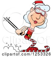 Clipart Of A Happy Grandma Christmas Elf Skiing Royalty Free Vector Illustration by Cory Thoman