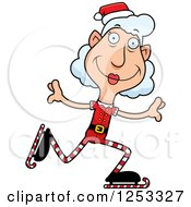 Clipart Of A Happy Grandma Christmas Elf Ice Skating Royalty Free Vector Illustration by Cory Thoman