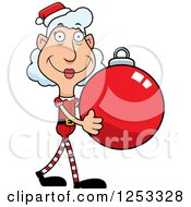 Clipart Of A Happy Grandma Christmas Elf Carying A Bauble Ornament Royalty Free Vector Illustration by Cory Thoman