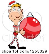 Clipart Of A Happy Man Christmas Elf Carying A Bauble Ornament Royalty Free Vector Illustration