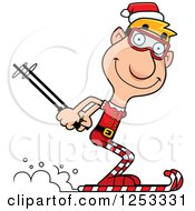 Clipart Of A Happy Man Christmas Elf Skiing Royalty Free Vector Illustration
