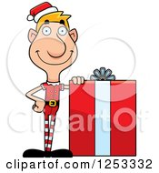 Clipart Of A Happy Man Christmas Elf With A Big Gift Royalty Free Vector Illustration