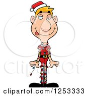 Clipart Of A Man Christmas Elf Tangled In Lights Royalty Free Vector Illustration