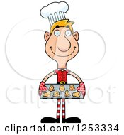Clipart Of A Happy Man Christmas Elf Baking Cookies Royalty Free Vector Illustration by Cory Thoman